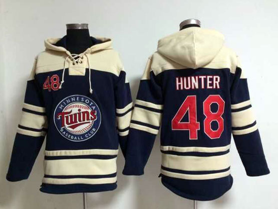 Mens Mlb Minnesota Twins #48 Hunter Blue Hoodie Jersey