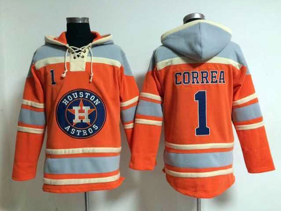mens mlb Houston Astros #1 Carlos Correa orange hoodie jersey