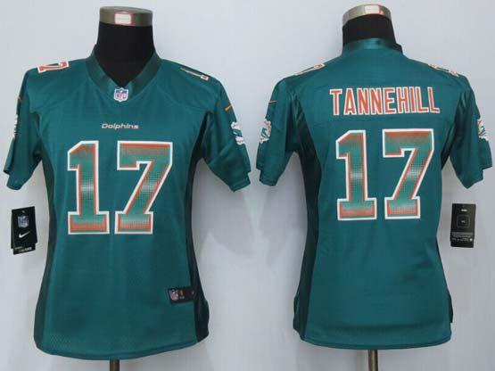 Women  New   Miami Dolphins #17 Tannehill Green Strobe Elite Jersey