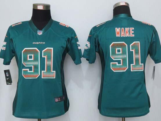 Women  New   Miami Dolphins #91 Wake Green Strobe Elite Jersey