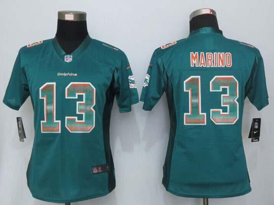 Women  New   Miami Dolphins #13 Marino Green Strobe Elite Jersey