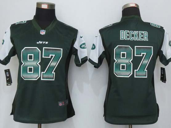 Women  New   York Jets #87 Decker Green Strobe Elite Jersey
