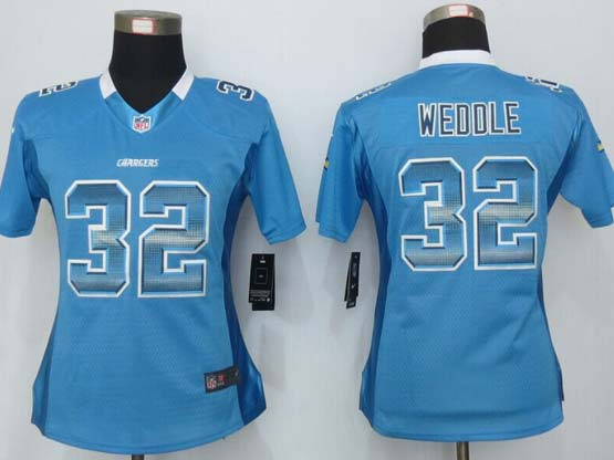 Women  New   San Diego Chargers #32 Weddle Blue Strobe Elite Jersey