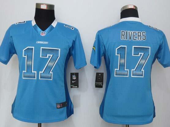 Women  New   San Diego Chargers #17 Rivers Blue Strobe Elite Jersey