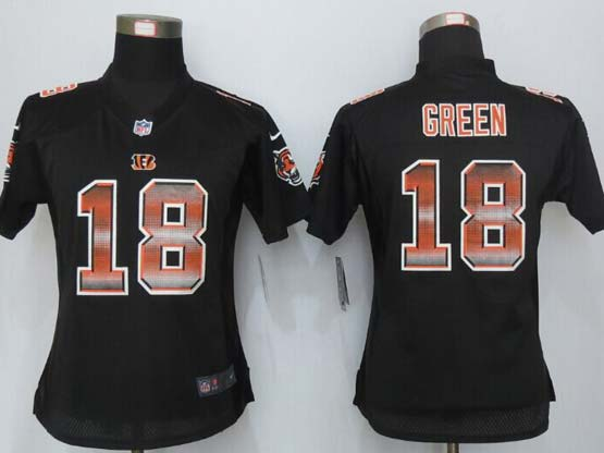 women  new   Cincinnati Bengals #18 AJ Green black strobe elite jersey