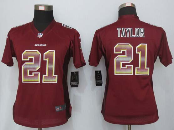 Women  New   Washington Red Skins #21 Taylor Red Strobe Elite Jersey