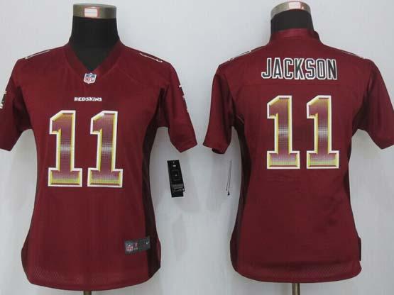 Women  New   Washington Red Skins #11 Jackson Red Strobe Elite Jersey