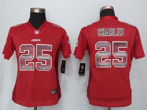 Women  New   Kansas City Chiefs #25 Charles Red Strobe Elite Jersey