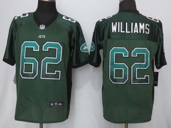Mens New Nike New York Jets #62 Williams Drift Fashion Green Elite Jersey