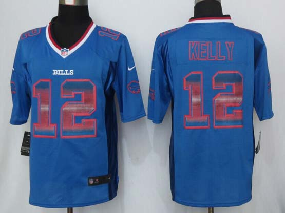 mens nfl Buffalo Bills #12 Jim Kelly blue (2015 new )strobe limited jersey