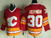 Mens reebok nhl calgary flames #30 vernon red throwbacks Jersey