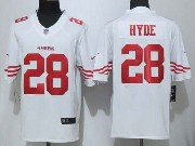 Mens Nfl San Francisco 49ers #28 Hyde White (new Limited) Jersey Sn