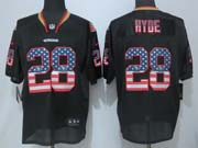 Mens Nfl San Francisco 49ers #28 Hyde Black (2014 Usa Flag Fashion) Elite Jersey Sn
