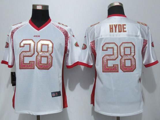 Women  New   Nfl San Francisco 49ers #28 Hyde Drift Fashion White Elite Jersey