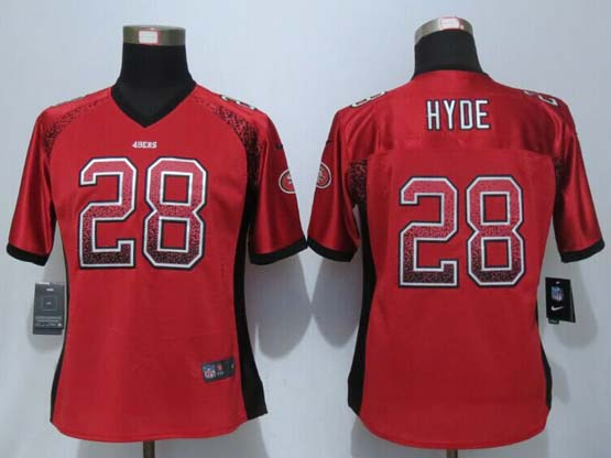 Women  New   Nfl San Francisco 49ers #28 Hyde Drift Fashion Red Elite Jersey