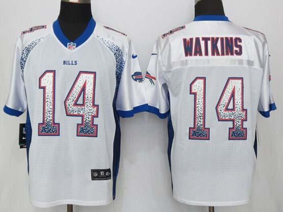 mens nfl Buffalo Bills #14 Sammy Watkins drift fashion white elite jersey