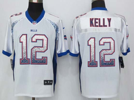 mens nfl Buffalo Bills #12 Jim Kelly drift fashion white elite jersey