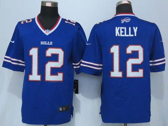 mens nfl Buffalo Bills #12 Jim Kelly blue new limited jersey