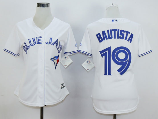 Women Majestic Toronto Blue Jays #19 Jose Bautista White Cool Base Player Jersey
