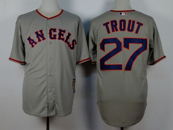 Mens Mlb Los Angeles Angels #27 Trout Gray 1980 Throwbacks Jersey