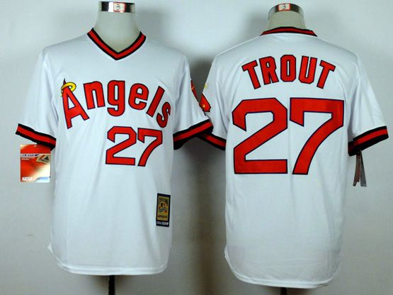 Mens Mlb Los Angeles Angels #27 Trout White 1980 Throwbacks Jersey