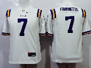 Youth Ncaa Nfl Lsu Tigers #7 Fournette White Jersey