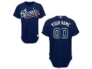 Mlb Atlanta Braves (custom Made) Dark Blue Cool Base Jersey