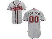 Mlb Mens Women Youth Atlanta Braves (custom Made) Grey Cool Base Jersey