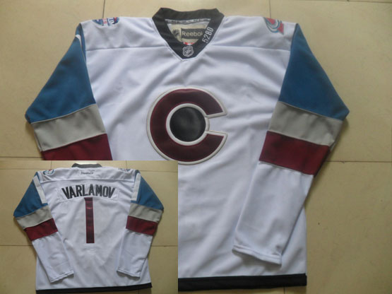 Mens Reebok Nhl Colorado Avalanche #1 Varlamov White (2015) Jersey