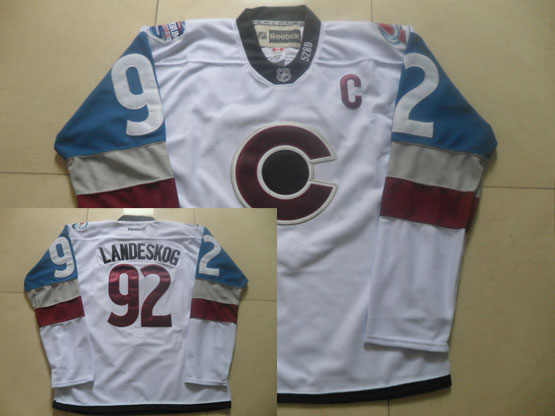 Mens Reebok Nhl Colorado Avalanche #92 Landeskog White (2015) Jersey