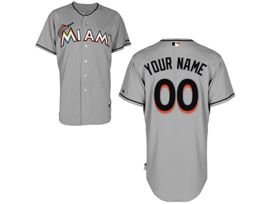 Mens Womens Youth Mlb Miami Marlins (custom Made) Gray Jersey