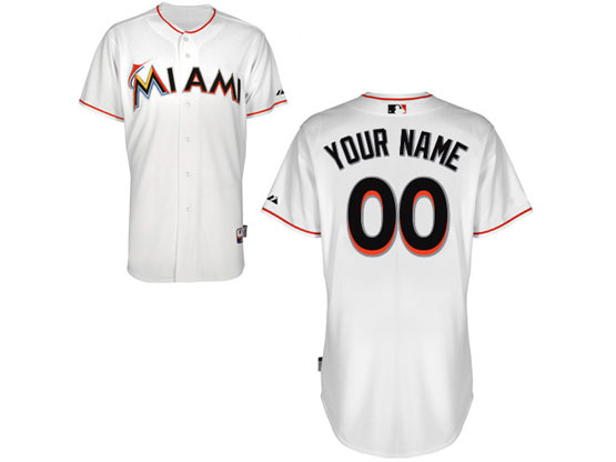 Mlb Miami Marlins (custom Made) White Jersey
