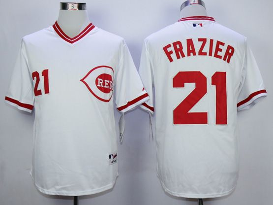 Mens Mlb Cincinnati Reds #21todd Frazier White 1990 Throwback Jersey