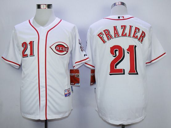 Mens Mlb Cincinnati Reds #21 Todd Frazier White Cool Base Jersey