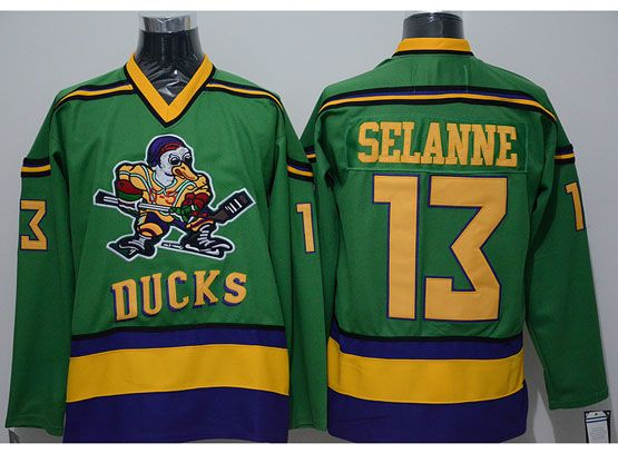 Mens ccm nhl anaheim mighty ducks #13 selanne green Jersey