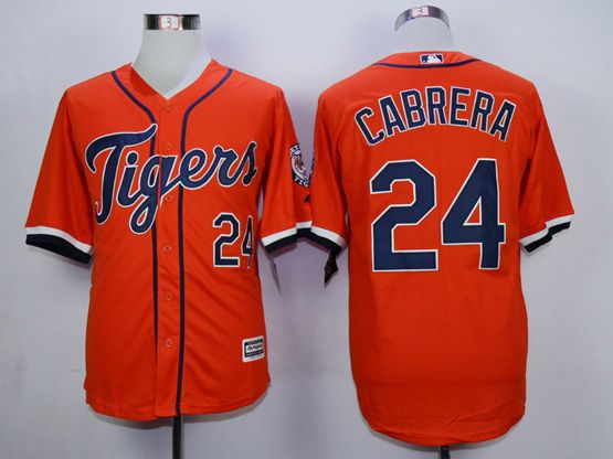 Mens Mlb Detroit Tigers #24 Cabrera Orange (2015 Majestic) Jersey