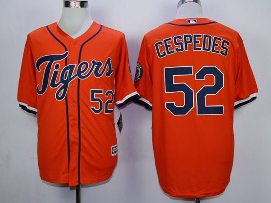 Mens Mlb Detroit Tigers #52 Cespedes Orange (2015 Majestic) Jersey