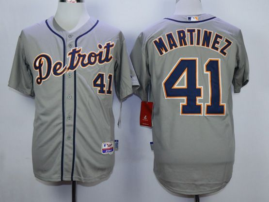 Mens Mlb Detroit Tigers #41 Martinez Gray Jersey