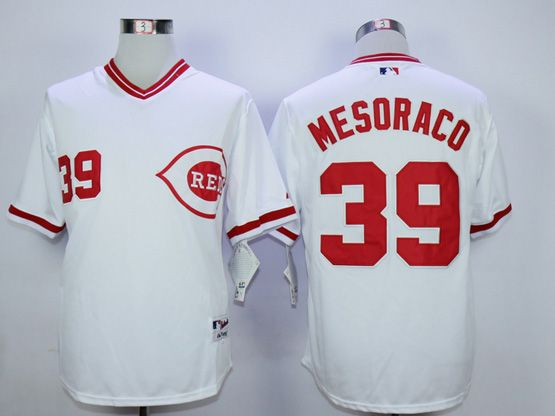 Mens Mlb Cincinnati Reds #39 Devin Mesoraco White 1990 Throwback Jersey