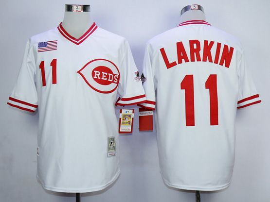 Mens Mlb Cincinnati Reds #11 Larkin White Number 1990 Throwbacks Pullover Jersey