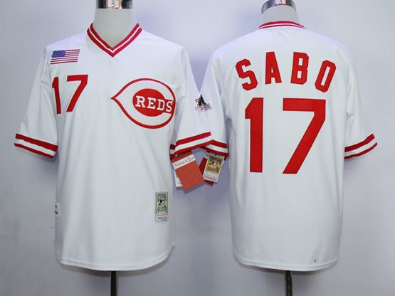Mens Mlb Cincinnati Reds #17 Chris Sabo White 1990 Throwback Jersey