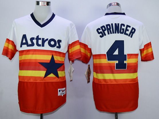 Mens Mlb Houston Astros #4 Springer White&orange Pullover Jersey