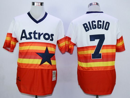 Mens Mlb Houston Astros #7 Biggio White&orange Throwbacks Pullover Jersey