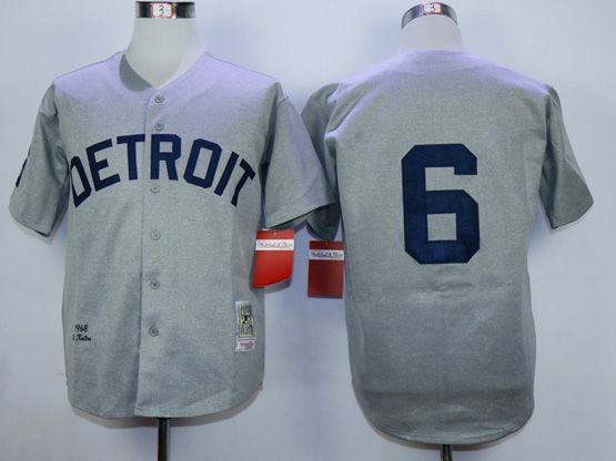 Mens Mlb Detroit Tigers #6 Kaline Gray 1968 Throwbacks Jersey