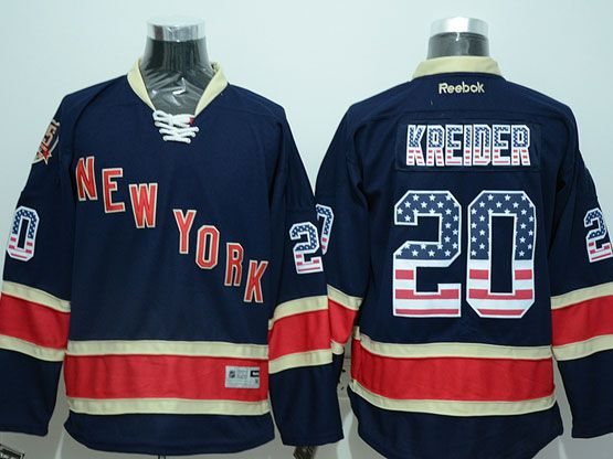 Mens Reebok Nhl New York Rangers #20 Kreider Dark Blue (usa Flag Fashion) 85th Jersey