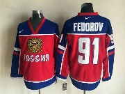 Mens Nhl Vancouver Canucks #91 Fedorov Red&blue Throwbacks Jersey