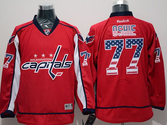 Mens Reebok Nhl Washington Capitals #77 Oshie Red (usa Flag Fashion) Jersey
