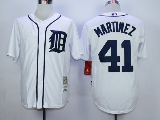 Mens Mlb Detroit Tigers #41 Martinez White Throwbacks Jerseys