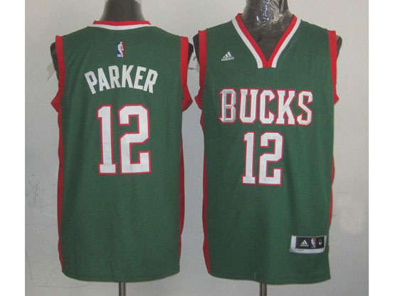 Mens Nba Milwaukee Bucks #12 Parker (bucks) Green V Collar Jersey