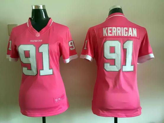 Women  Nfl Washington Redskins #91 Kerrigan Pink Bubble Gum Jersey